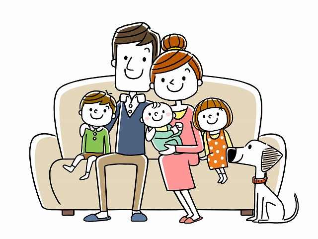 犬と家族の画像